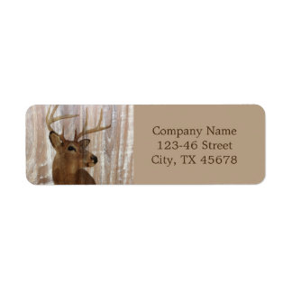 grunge deer woodgrain carpenter construction return address label