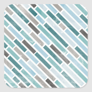 Grunge Diagonal Stripe Pattern Square Stickers