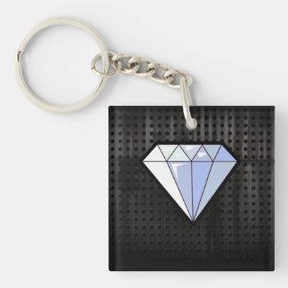 Grunge Diamond Double-Sided Square Acrylic Key Ring