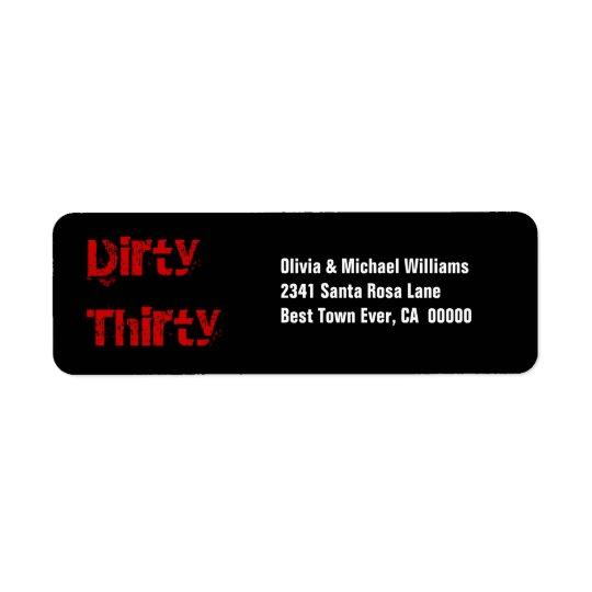 Grunge Dirty Thirty 30th Birthday Red Black White Return Address Label