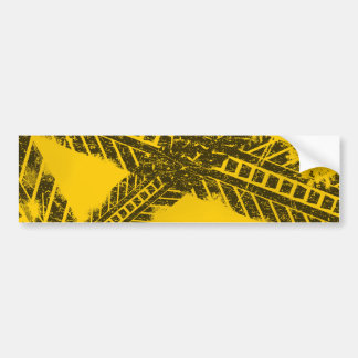 Grunge distressed black tire track road marking bumper sticker