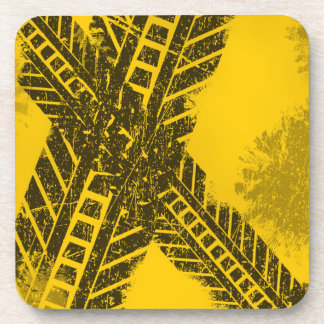 Grunge distressed black tire track road marking coaster