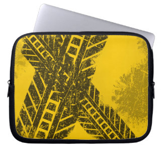 Grunge distressed black tire track road marking laptop sleeve
