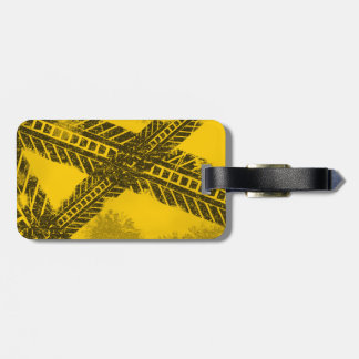 Grunge distressed black tire track road marking luggage tag