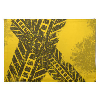 Grunge distressed black tire track road marking placemat