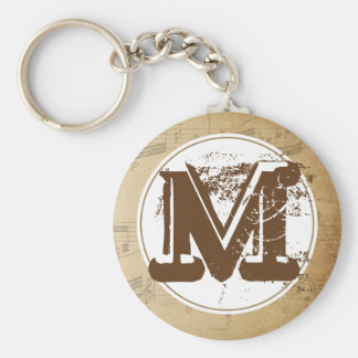 Grunge Distressed Sheet Music Initial Keychain