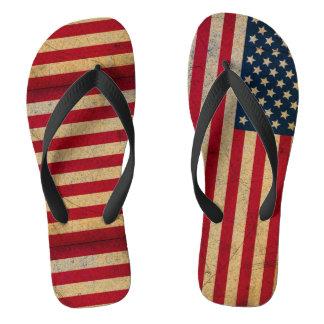 Grunge Distressed USA Flag Mismatch Flip Flops