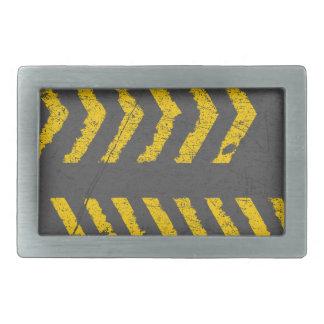 Grunge distressed yellow road marking belt buckle