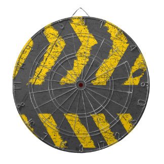 Grunge distressed yellow road marking dartboard