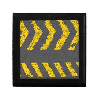 Grunge distressed yellow road marking gift box
