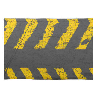 Grunge distressed yellow road marking placemat