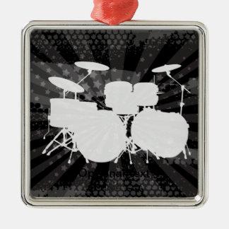 Grunge Drums Black Burst Metal Ornament