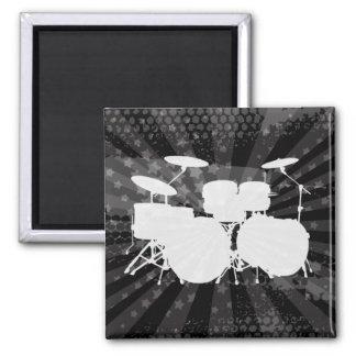 Grunge Drums Black Burst Square Magnet