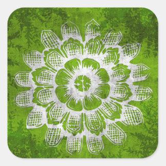 Grunge Eastern Flower on Green Background Square Sticker
