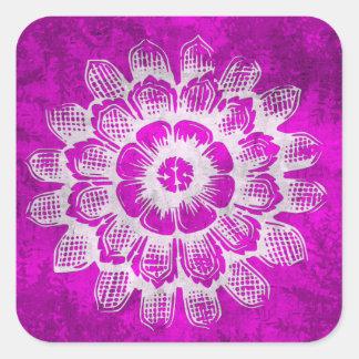 Grunge Eastern Flower on Pink Background Square Sticker
