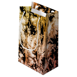 Grunge ebru themed design, rich watercolor small gift bag