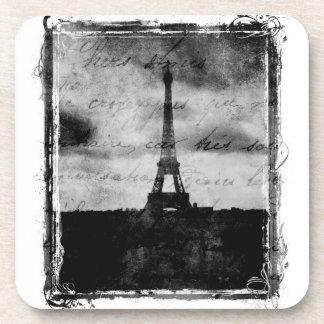 Grunge Edge Textured Paris Beverage Coasters