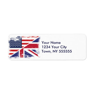 Grunge English American Flag Return Address Label