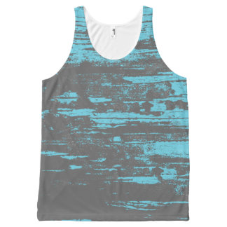 Grunge, Faded, Aqua Grey, Cool All-Over Print Tank Top
