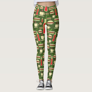 Grunge Fast Food Icons Set Pattern Leggings