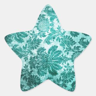 Grunge filigree pattern in teal. star sticker