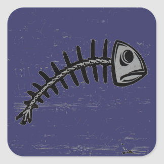 grunge fishbone square sticker