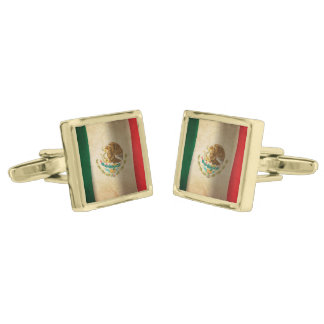 Grunge Flag of Mexico... Gold Finish Cufflinks