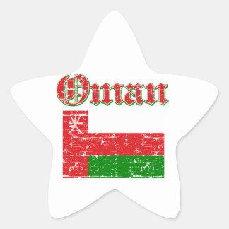 Grunge Flag of Oman Star Sticker