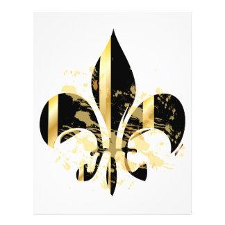Grunge Fleur de Lis/black + gold 21.5 Cm X 28 Cm Flyer