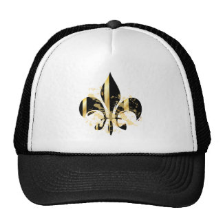 Grunge Fleur de Lis/black + gold Trucker Hats