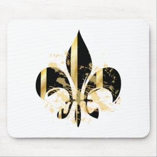 Grunge Fleur de Lis/black + gold Mouse Pads