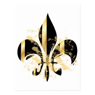 Grunge Fleur de Lis/black + gold Postcard