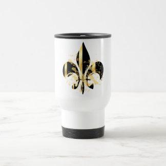 Grunge Fleur de Lis/black + gold Stainless Steel Travel Mug