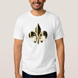 Grunge Fleur de Lis/black + gold T Shirt