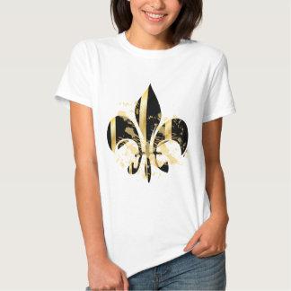 Grunge Fleur de Lis/black + gold Tees