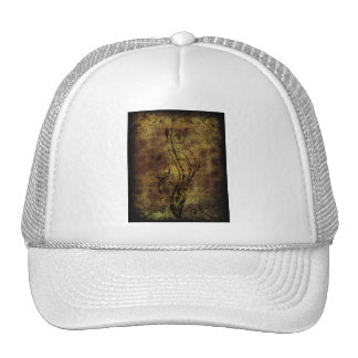 Grunge Floral and Musical Notes Rustic Brown Cap