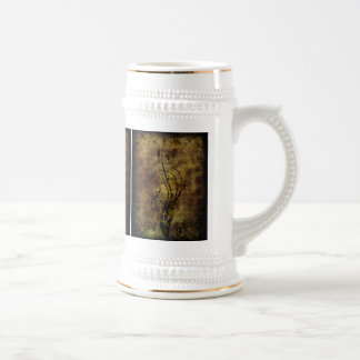 Grunge Floral and Musical Notes Rustic Brown Coffee Mugs