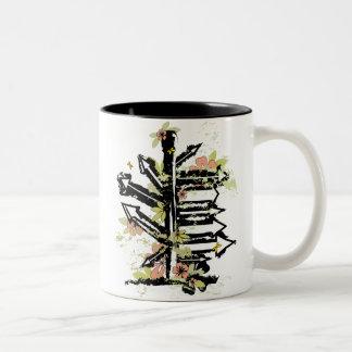 grunge floral arrows image coffee mugs