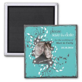 Grunge Floral Asian Frame Square Magnet