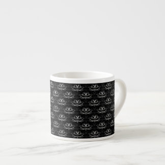 Grunge Floral Black and White Espresso Cups