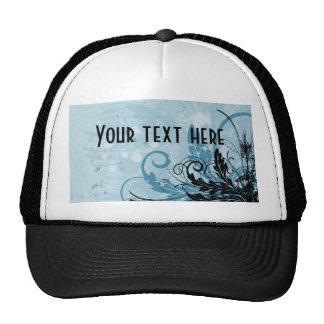 Grunge Floral Design - Light Blue Cap