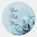 Grunge Floral Design - Light Blue Round Sticker