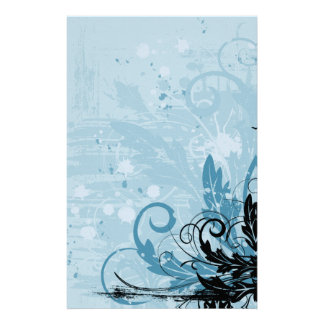 Grunge Floral Design - Light Blue Stationery