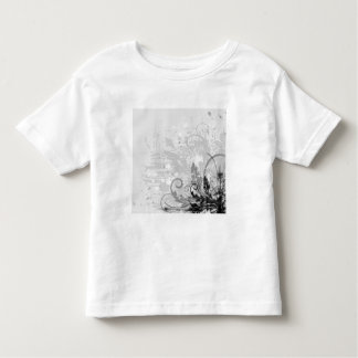 Grunge Floral Design - Light Grey B&W Tee Shirt