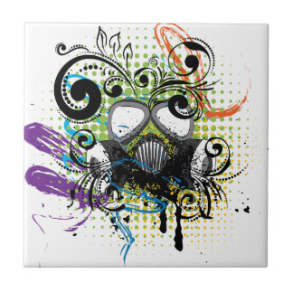Grunge Floral Gas Mask2 Ceramic Tile