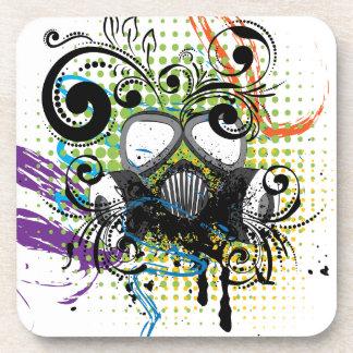 Grunge Floral Gas Mask2 Coaster
