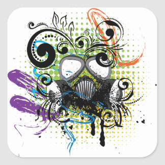 Grunge Floral Gas Mask2 Square Sticker