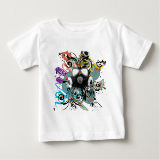 Grunge Floral Gas Mask Baby T-Shirt