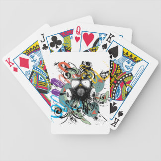 Grunge Floral Gas Mask Bicycle Playing Cards