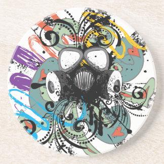 Grunge Floral Gas Mask Coaster